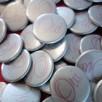 badge oui argent rose