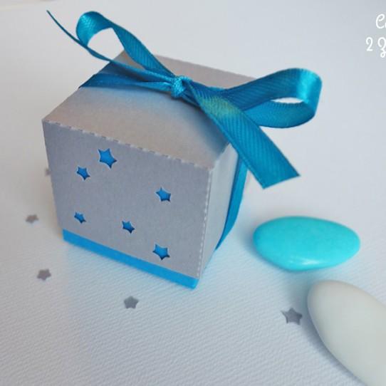 boite double étoile bleu turquoise gris