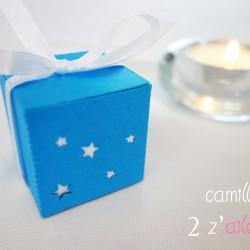 boite simple étoile bleu turquoise blanc