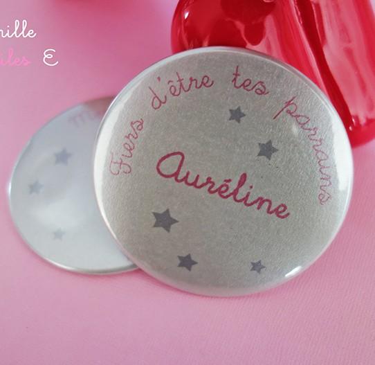 badge magnet miroir 75 étoile argent rose