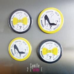 badge magnet miroir 75 noeud papillon chaussure talon jaune noir