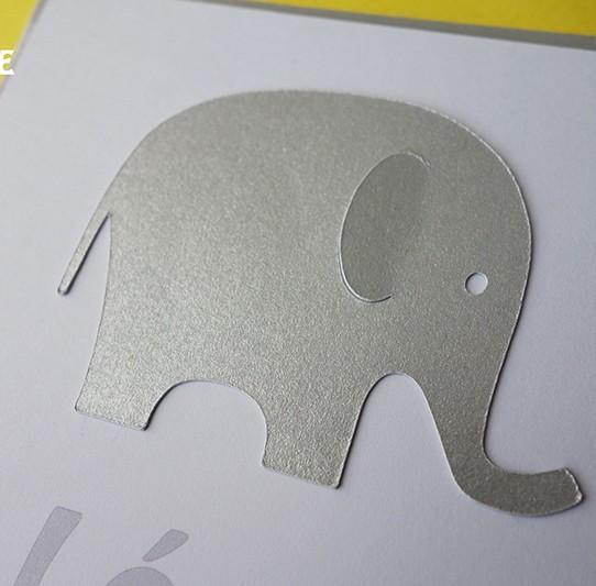 faire-part éléphant jaune argent 2