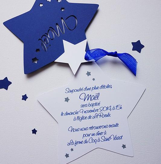 faire-part étoile bleu nuit blanc 2