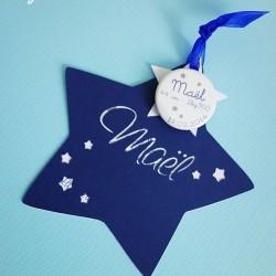 faire-part étoile magnet bleu nuit blanc 1