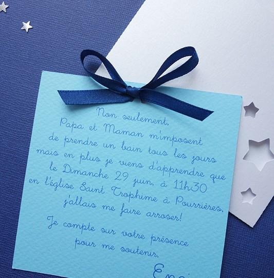 faire-part pochette carré étoile blanc irisé bleu clair nuit 2