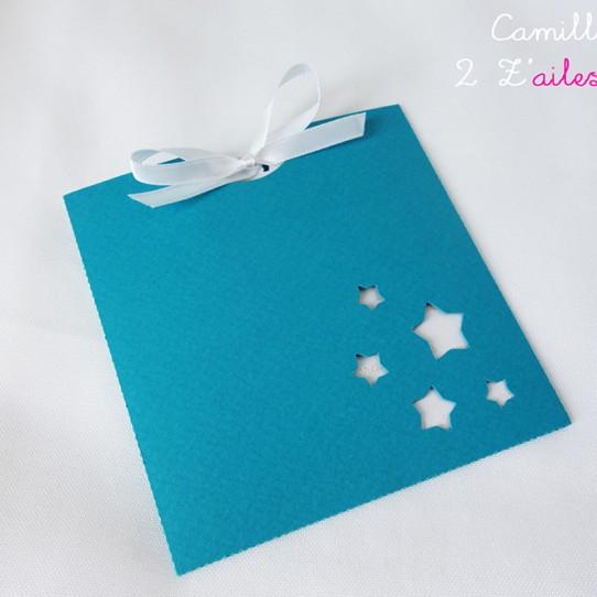 faire-part pochette carré étoile bleu bermude blanc irisé