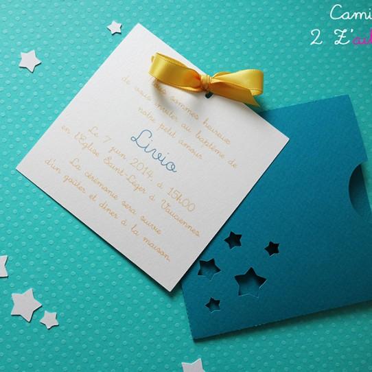 faire-part pochette carré étoile bleu bermude blanc irisé jaune tournseol 1