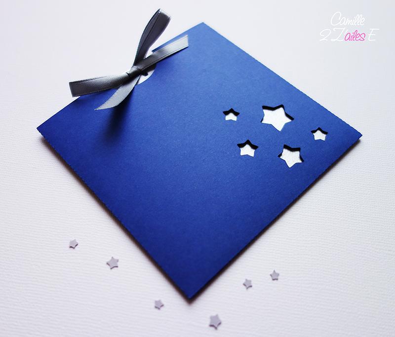 Faire-part pochette carrée Envolée d'étoiles | Camille 2 z\'ailes E| Créations de papeterie ...