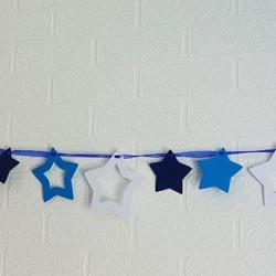 guirlande étoile bleu nuit turquoise blanc