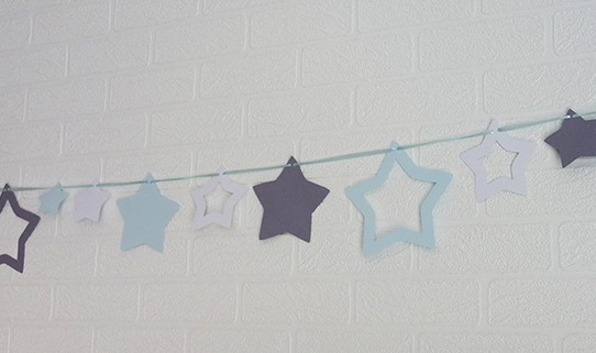 guirlande étoile bleu pastel gris blanc