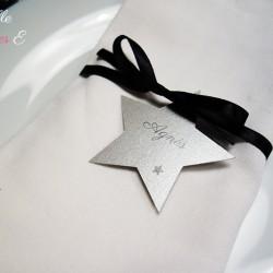 marque-place étoile ruban argenté noir