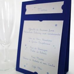 menu auto-portant étoile bleu nuit argent