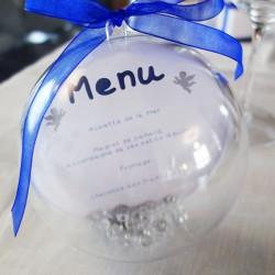 menu boule plexi ange blanc bleu nuit