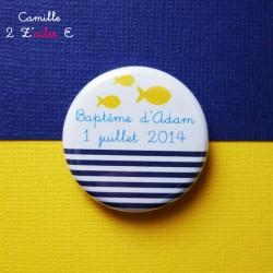 badge magnet 32 marin bleu nuit jaune poisson rayure