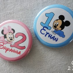 badge magnet 32 mickey minnie bébé