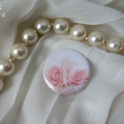 badge magnet 32 rose perle