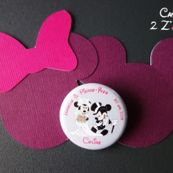 badge magnet mickey minnie marié gris fuchsia marque-place