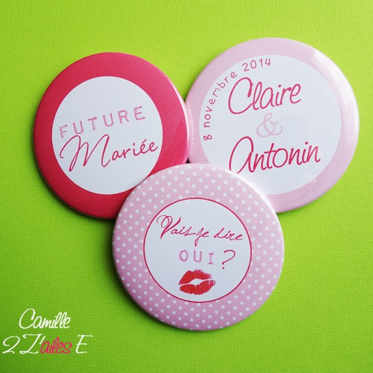 badge magnet miroir 75 EVJF rose fuchsia