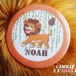 badge magnet miroir 75 lion