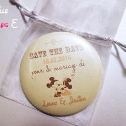 badge magnet miroir 75 save the date mickey minnie vintage