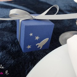 boite dragées étoile fusée bleu nuit argent