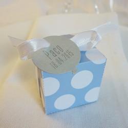boite dragées bleu gros pois blanc ballon argent 1