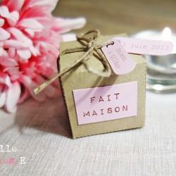 boite dragées kraft étiquette rose lin