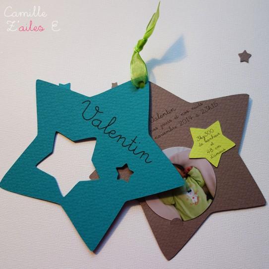 faire-part étoile naissance bermude taupe anis photo 3