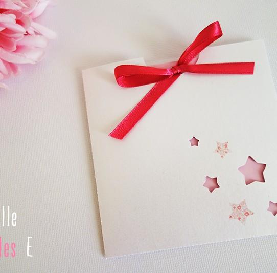 faire-part pochette carré étoile blanc rose fuchsia liberty 1