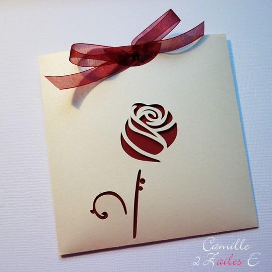faire-part pochette rose ivoire irisé bordeaux 1