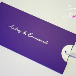 faire-part pochette sobriété violet argent blanc irisé