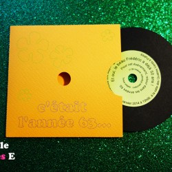 faire-part pochette vinyle disco orange 2