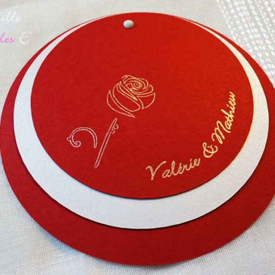 faire-part rond rose rouge blanc irisé 1