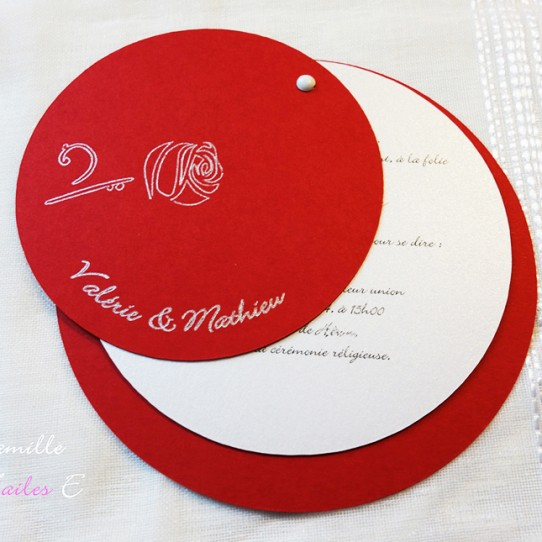 faire-part rond rose rouge blanc irisé 2