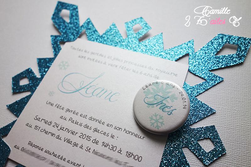 Camille 2 zailes e invitation flocon reine des neiges invitation anniversaire flocon paillet reine neiges badge 2 stopboris Gallery