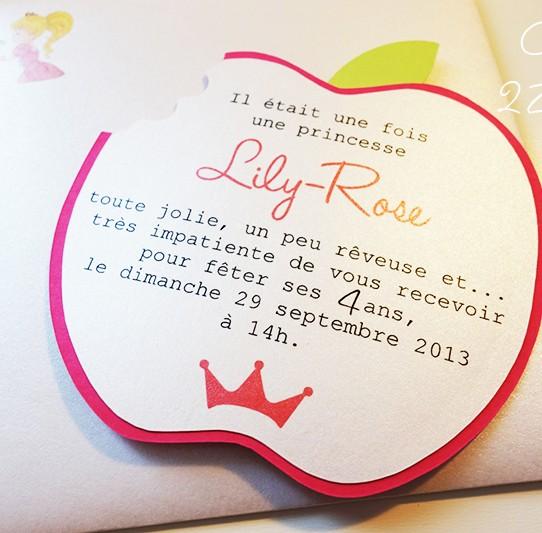 invitation pomme croquée princesse 3