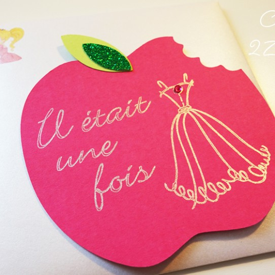 invitation pomme croquée princesse 4