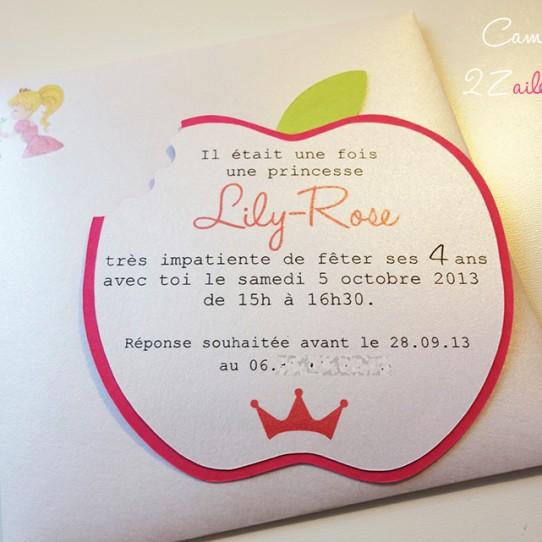 invitation pomme croquée princesse 5