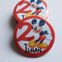 magnet badge miroir 75 mickey rouge 1