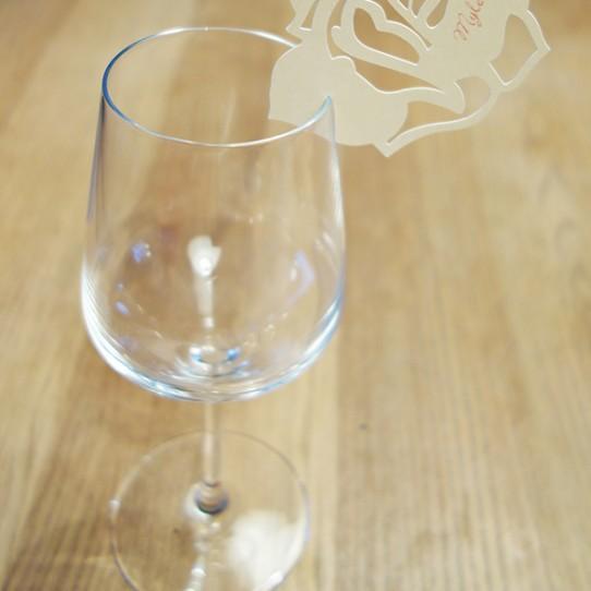 marque-place rose ivoire irisé bordeaux 1