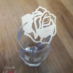 marque-place rose ivoire irisé bordeaux 2