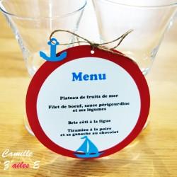 menu marin rond ficelle lin rouge bleu