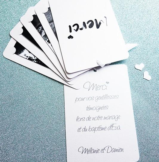 remerciement multicarte blanc irisé photo 4