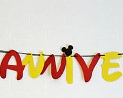 guirlande joyeux anniversaire rouge jaune mickey