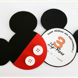 invitation mickey bouton blanc