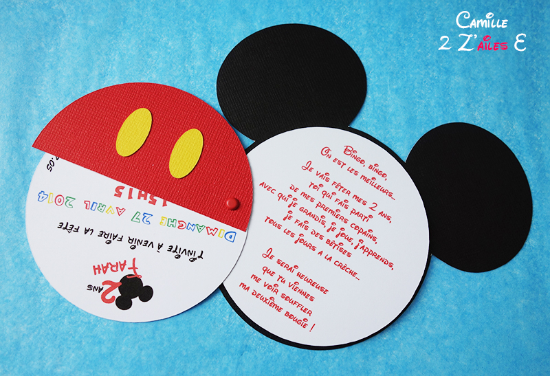 Souvent Invitation Mickey pivotant | Camille 2 z\'ailes E| Créations de  UP46