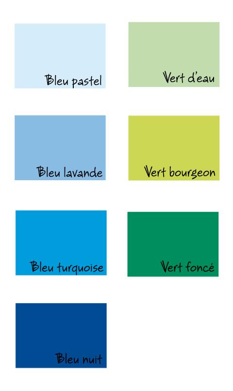 couleurs papier bleu vert