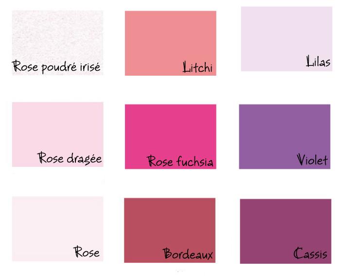 couleurs papier rose