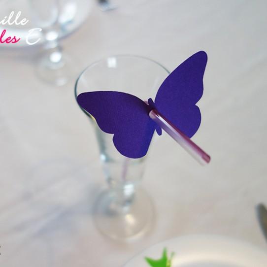 marque-paille papillon violet