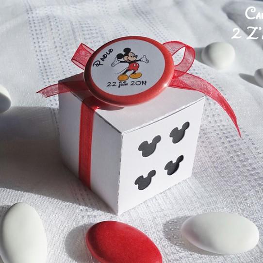 boite dragées mickey blanc irisé noir rouge